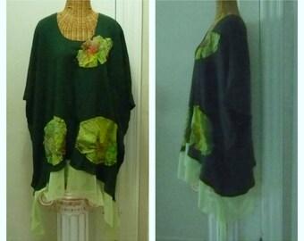 Batik Palm Leaf Dress Large up to 6X Plus Sizes Hunter Green Quilted Pockets Lagenlook Art Wear Womens Boho Cotton Gauze