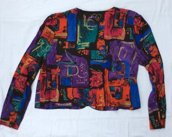 Retro 80s / 90s style LS button front Crop Top made in the usa