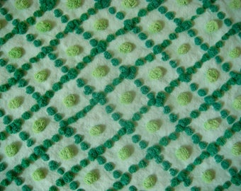 Handmade Tonal Green Lattice and Pops Vintage Cotton Chenille Fabric 11.5 x 24.5 Inches