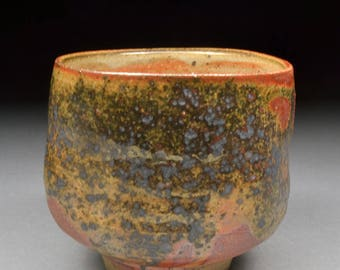 Larger Amazing Handmade Stoneware Yunomi Tea Cup Glazed with Shino, Wood Ash, Copper and Rutile