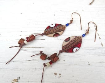 Tribal and primitive earrings, with copper charms struck enamel, artisanal creation: Taste Of Adventure .....