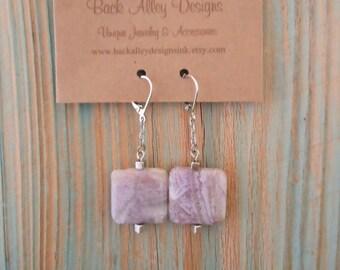 Amethyst Gemstone Earrings in Silver ~ Square Bead Leverback Earwire Purple Dangle Earring ~ Handcrafted Genuine Gem Stone Jewelry