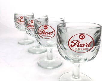 Rare Vintage PEARL LAGER Beer Thumbprint Glass Goblet / Set Of Five / Groomsmen Gifts