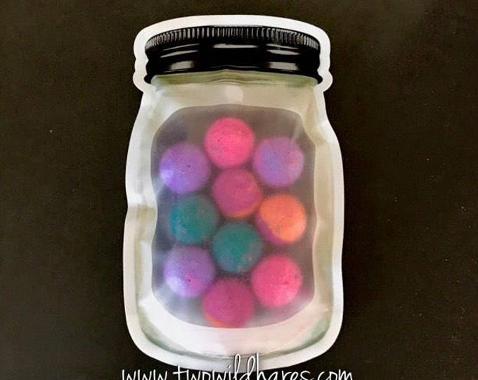 12-MASON JAR Stand Up Pouches, Impulse Sealable, For Bath Salt, Bomb Dust, Milk Bath, Bath Tea Etc
