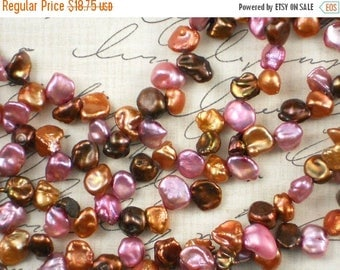 ON SALE Keishi Lavender Copper & Cocoa Freshwater Pearls - 16 Inches (4001)
