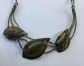 Vintage Modernist Brutalist Artisan Brass & Copper Necklace Leaves