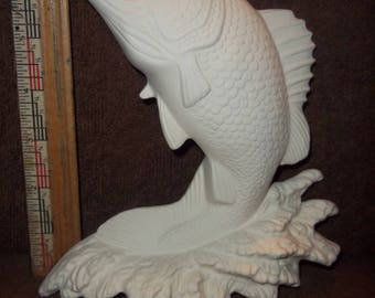 Bass Fish Wall Plaque  Made of Ceramic Bisque Ready for You to Paint.  Fishes