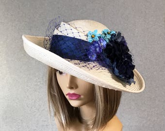 Christine, beautiful straw hat inspired from the early Downton Abbey era, with a silk dupioni sash, veiling and silk flower