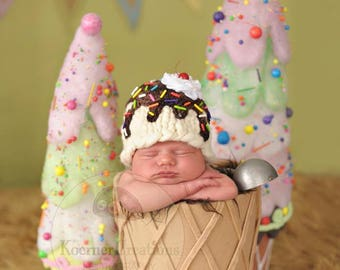 Ice Cream Sundae Hat (color options available)  photography prop Newborn Size
