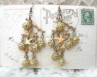 raspberry earrings assemblage twig chandelier blackberry branch cottage chic bird golden