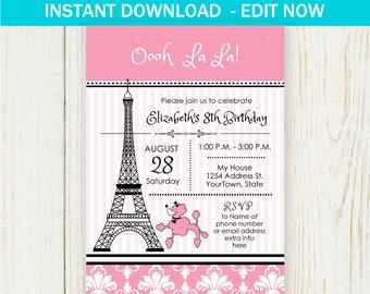 Paris Birthday Invitation - EDIT NOW - Paris Birthday Party Invitation Birthday Party Paris Invitation Girl Eiffel tower, oh la la
