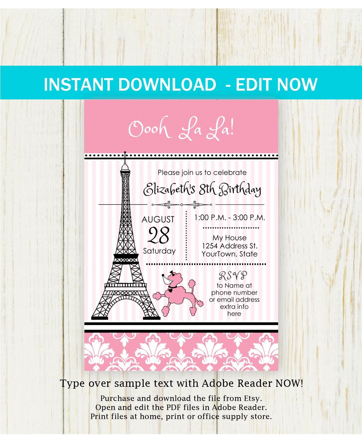 Paris Birthday Invitation - EDIT NOW - Paris Birthday Party ...