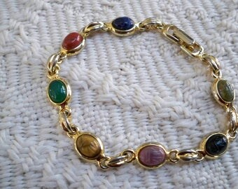 Vintage Jewelry Bracelet Collectible Seven Scarab Bracelet