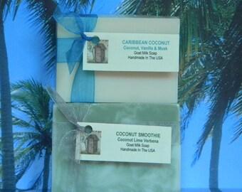 Coconut Soap, Coconut Lime Verbena Soap, Coconut Vanilla Musk Soap. Handmade Goat Milk Soap, Toasted Goat Caribbean Coconut Soap