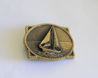 Sailing Belt Buckle by BTS Solid Brass 70s 80s Made in USA Ocean Sea Boats Nautical California