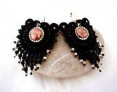 black and rose gold chandelier beaded fringes handmade earrings , perfect gift for her ,  bohemian chic beaded party cocktail jewellery gift