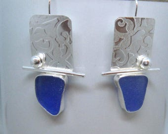 Sea Glass Earrings - Blue Sea Glass and Sterling Silver Earrings