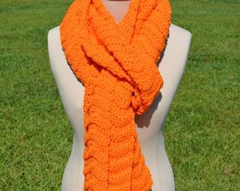Orange MegaScarf; Long Orange Scarf; Long Crochet Scarf; Warm Scarf; Orange Scarf