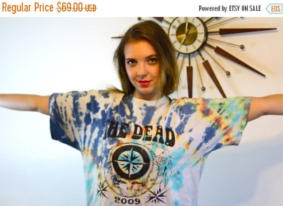 SALE 50% OFF Tie Dye The Grateful Dead T-Shirt Distressed Rainbow Color Pattern Dead Head Hippie Trippy Festival I Steal Your Face Concert D