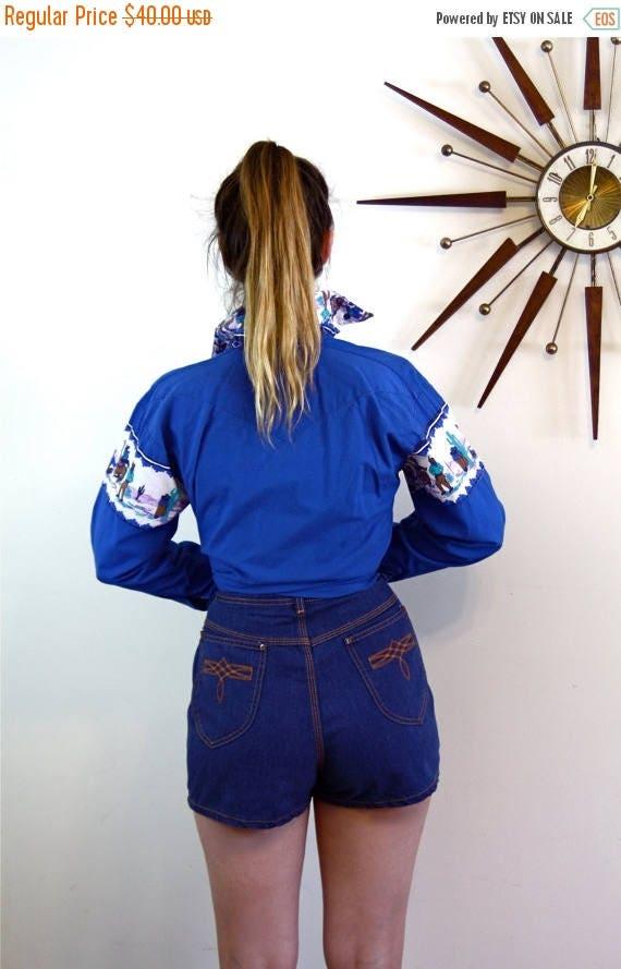 SALE 50% OFF Vintage 70s SEARS Denim Shorts Super High Waisted Dark Blue Jean Short Pants Embroidered Back Pocket Hipster 1970s Womens Short
