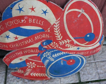 """Mid Century Christmas  Decor Wooden Bell Sign Outdoor Display """"Ring Joyous Bells On Christmas Morn, To Tell The World That Christ Is Born"""""""