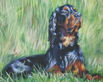GORDON SETTER dog ART canvas print of LAShepard painting 11x14""