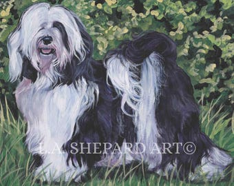"TIBETAN TERRIER dog portrait art canvas PRINT of LAShepard painting 11x14"""