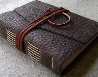"""Handmade rustic leather journal, 4"""" x 6"""", travel journal, leather sketchbook (2619)"""