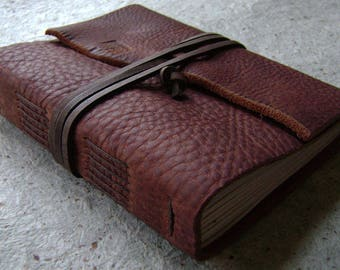 """Rustic leather journal, 4"""" x 6"""", travel journal, leather sketchbook, old world journal  (2623)"""
