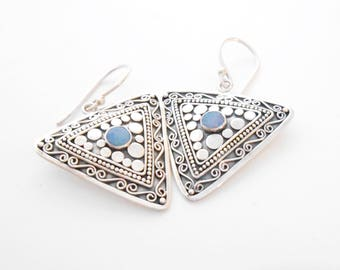 Balinese Sterling Silver Tribal style Earrings Opal  / 1.50 inch long / Nomad style / silver 925 / (#303K)