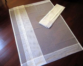 "Window Curtain Drapes Set 2 Light Ivory Lace Mesh 55""L x 62""W PAIR Flat PANELS"