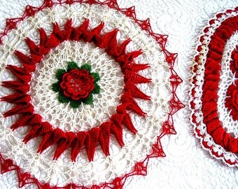 Vintage Runner Tablecloth Doily Hand Crocheted Lace Cotton Colorful PAIR Set RED