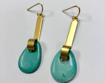 Cool Girl 12k Gol Fill Fench Hook Earrings woth Vintage Turquoise
