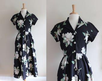 Vintage 1980s does 1950s Black Floral Shirtwaist Midi Dress