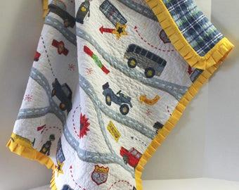 Baby Boy Crib Quilt Vintage Cars Road Trip Baby Shower Gift Nursery Decor