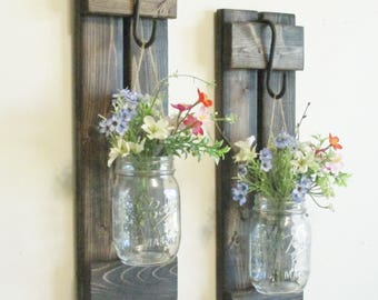 NEW Design..Rustic Primitive Farmhouse Wood Wall Decor... 2  Hanging Mason Jar Sconces..Wall Sconce
