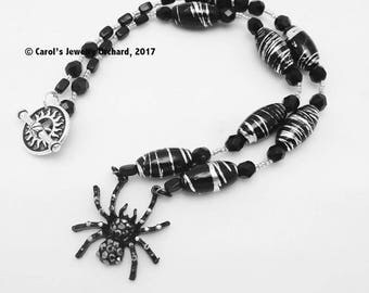 Handcrafted Black Spider Necklace. One of a Kind Creation with Black Czech Glass, Silver Web like accents, and a black spider focal pendant
