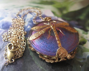 Blue Purple Dragonfly Necklace Wrapped In 1930's French Filigree