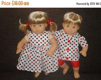 "ON SALE 15 Inch Doll Clothes/Red, White, Blue/Dress,Shirt, and  Shorts/Made to fit 15"" Bitty Baby Twins Dolls/READY To Ship"