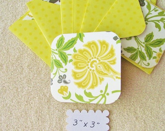 """8 -  3"""" -Flowered Mini Note Cards/Gift Cards with envelopes - Free Secondary Shipping"""