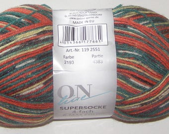OnLine Sock yarn X-mas superwash wool polyamide metallic, 100g/459yd #2193