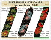BP-SS-003 - Super Savings Bundle - Peyote no 1 - Get THREE Peyote Stitch Patterns at Discount Price and Save, Peyote Bracelet pattern,