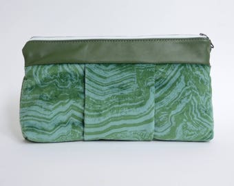 Nana green and turquoise marbled velvet and forest green leather Sophie clutch
