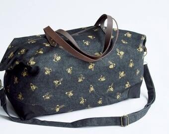 Honey Bees Weekender Bag. Shoulder Bag. Canvas Bag. Tote. Across body bag. Weekend Bag. Gym Bag. Duffel Bag.  Overnight Bag. Carry on Bag.