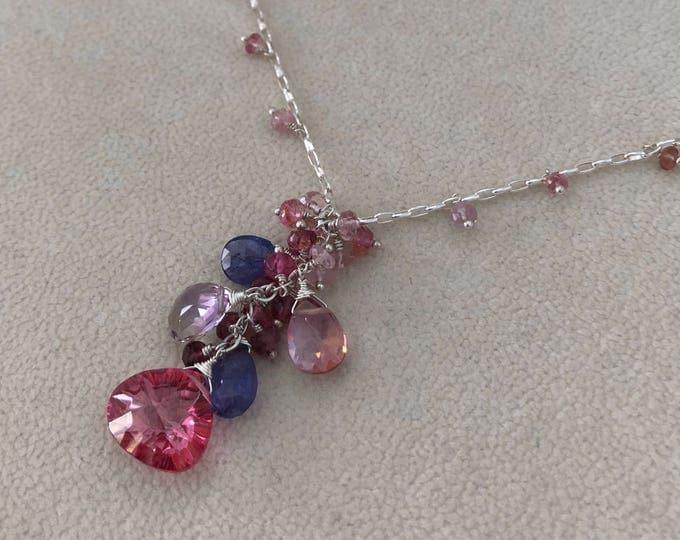 Semiprecious Gemstone Pendant Necklace in Sterling Silver with Mystic Pink Topaz, Tanzanite, Ametrine, Mystic Pink Quartz, Pink Tourmaline