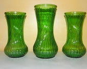 "Emerald Green Swirl Ribbed Hoosier Glass Vase Trio, One Large 9"" and TWO Medium 8"" Vases, Centerpiece Flower Vases add Lights"