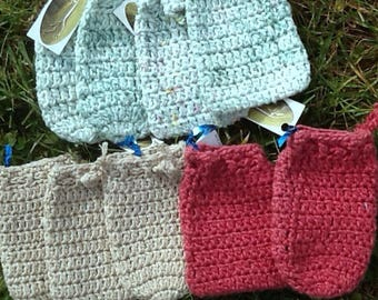 Soap savers, hand crocheted cotton