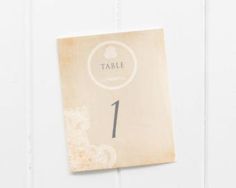 Printable Table Numbers - Easy Cutting Guide - Numbers 1-30 Included - Classic Vintage with pattern