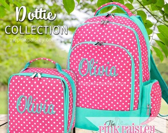 Monogrammed Backpack and Lunch Box | Personalized Backpack | Girls School BookBag | Back To School | Dottie Pattern