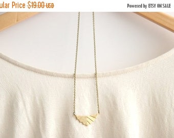 CHRISTMAS in JULY SALE Gold Geometric Necklace //  Aztec Necklace // Tribal Necklace // Rustic Wedding // Long Gold Necklace